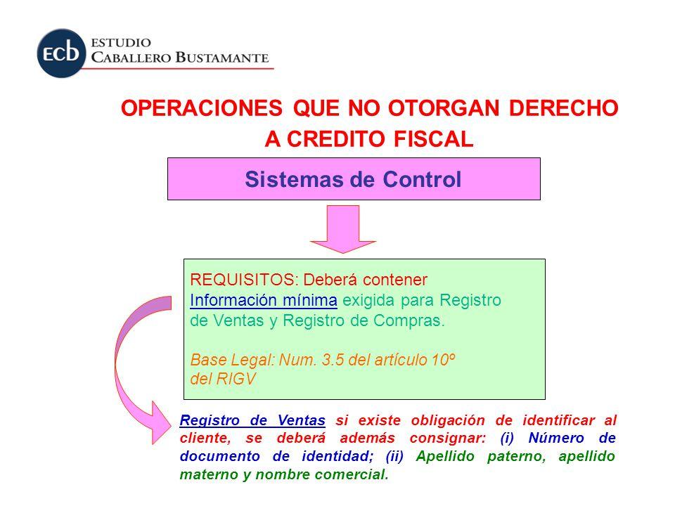 OPERACIONES QUE NO OTORGAN DERECHO