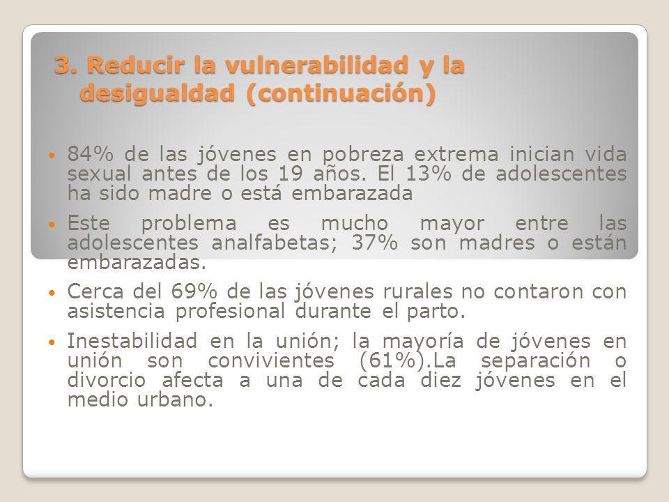 3. Reducir la vulnerabilidad y la desigualdad (continuación)
