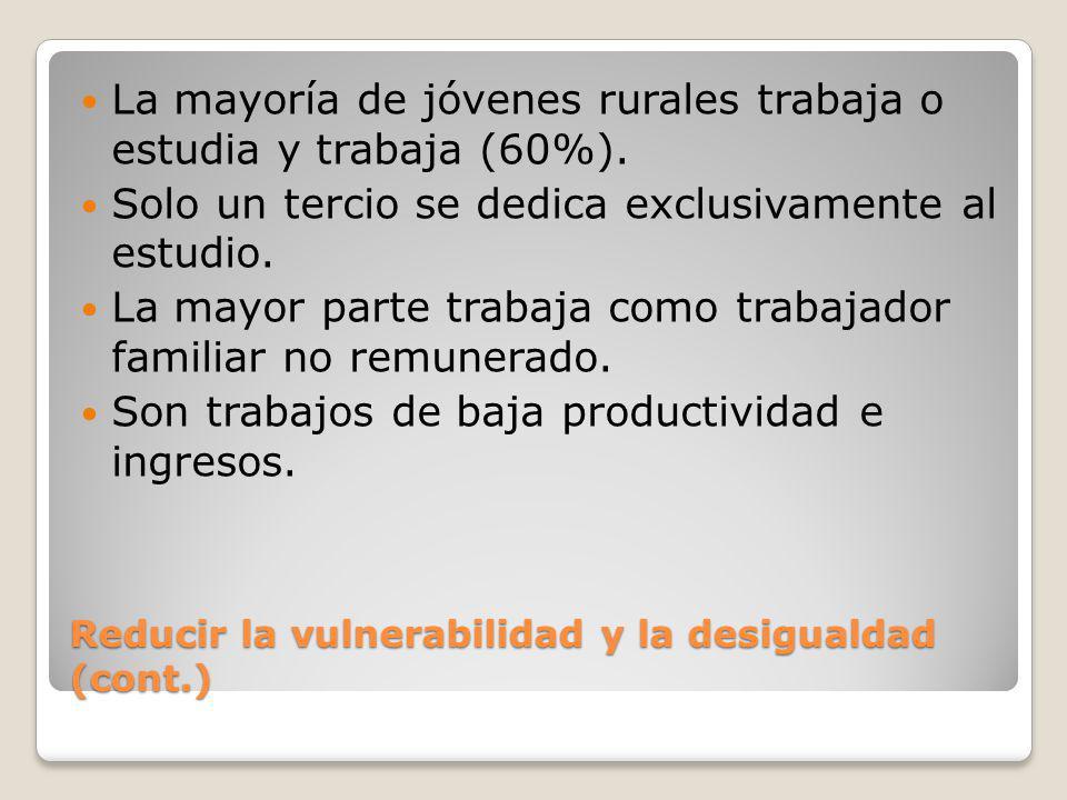 Reducir la vulnerabilidad y la desigualdad (cont.)