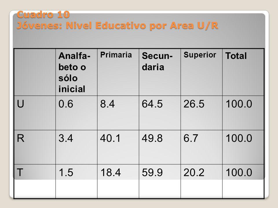 Cuadro 10 Jóvenes: Nivel Educativo por Area U/R