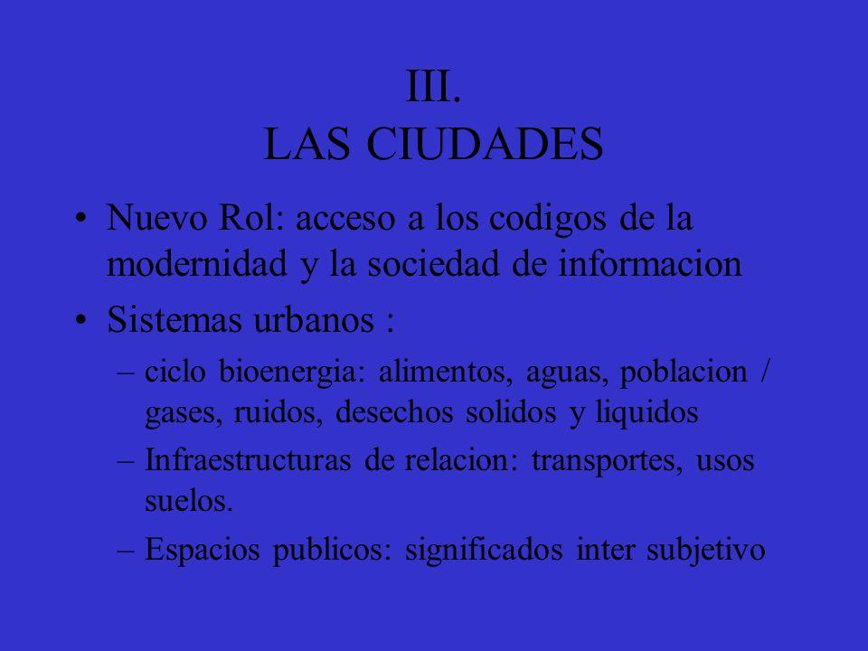 III. LAS CIUDADES Nuevo Rol: acceso a los codigos de la modernidad y la sociedad de informacion. Sistemas urbanos :