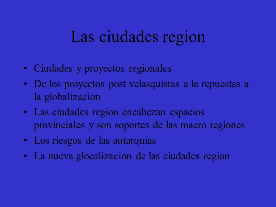 Las ciudades region Ciudades y proyectos regionales