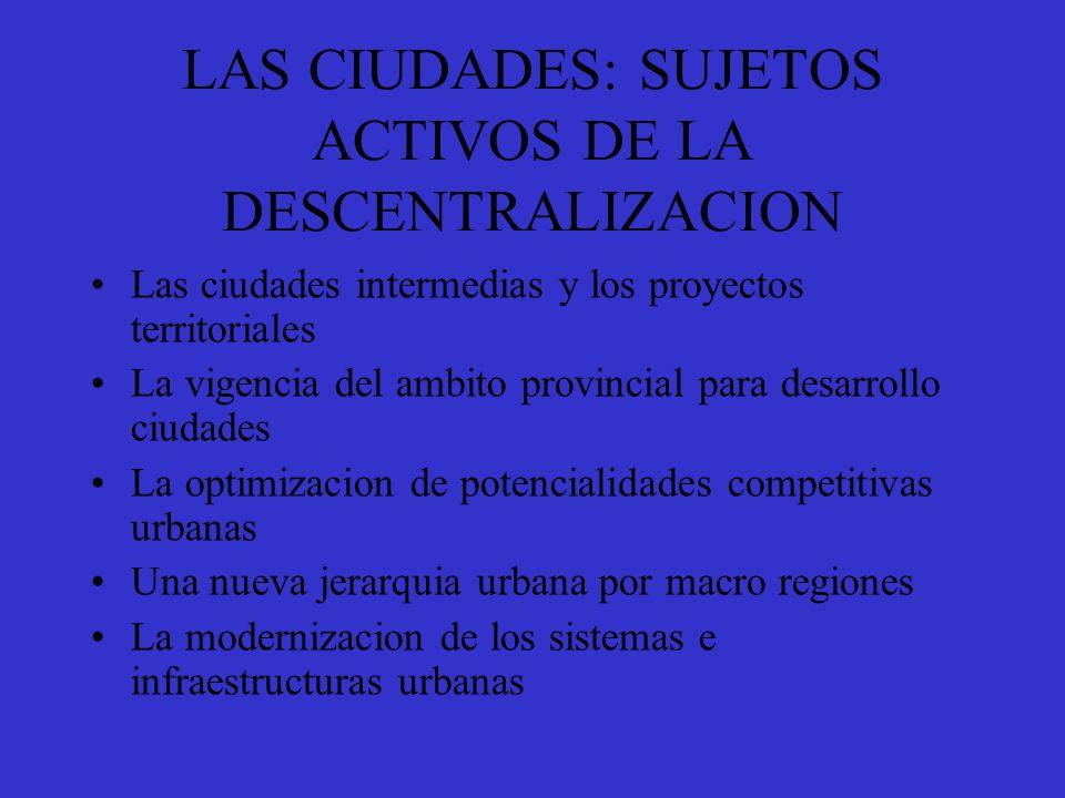 LAS CIUDADES: SUJETOS ACTIVOS DE LA DESCENTRALIZACION
