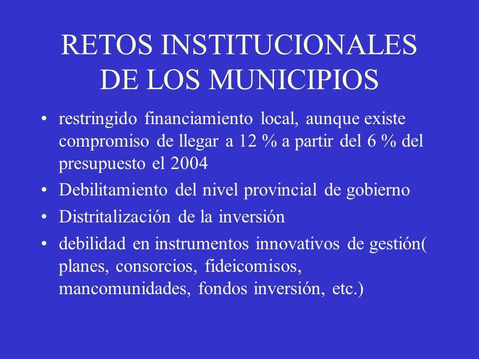 RETOS INSTITUCIONALES DE LOS MUNICIPIOS
