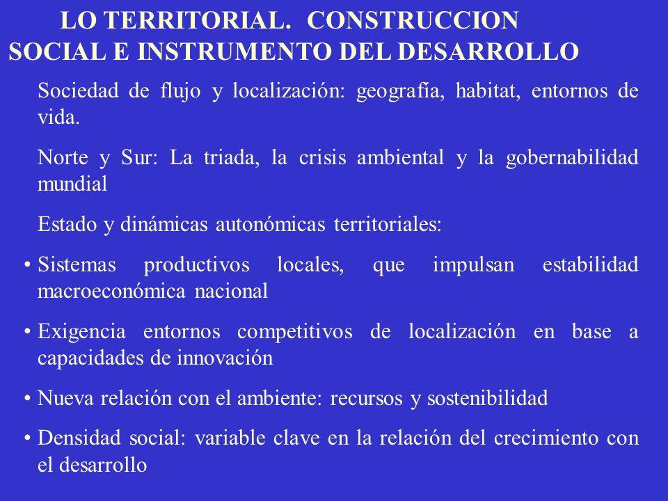 LO TERRITORIAL. CONSTRUCCION SOCIAL E INSTRUMENTO DEL DESARROLLO