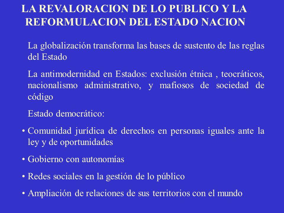LA REVALORACION DE LO PUBLICO Y LA REFORMULACION DEL ESTADO NACION
