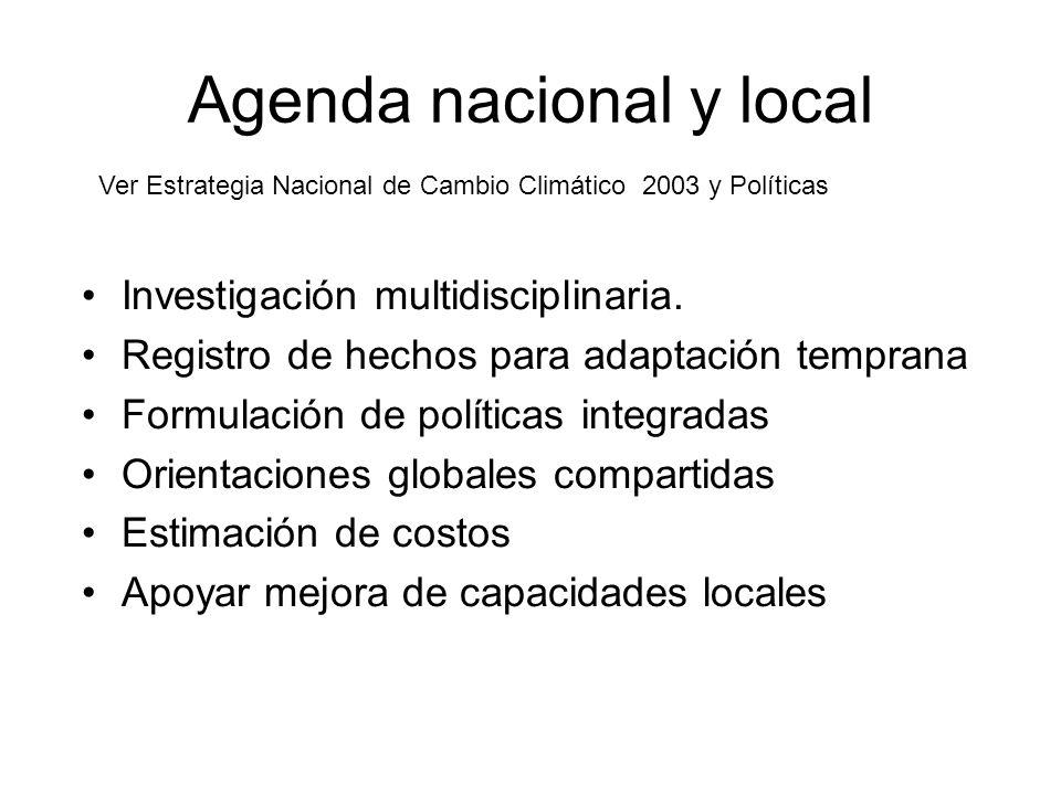 Agenda nacional y local