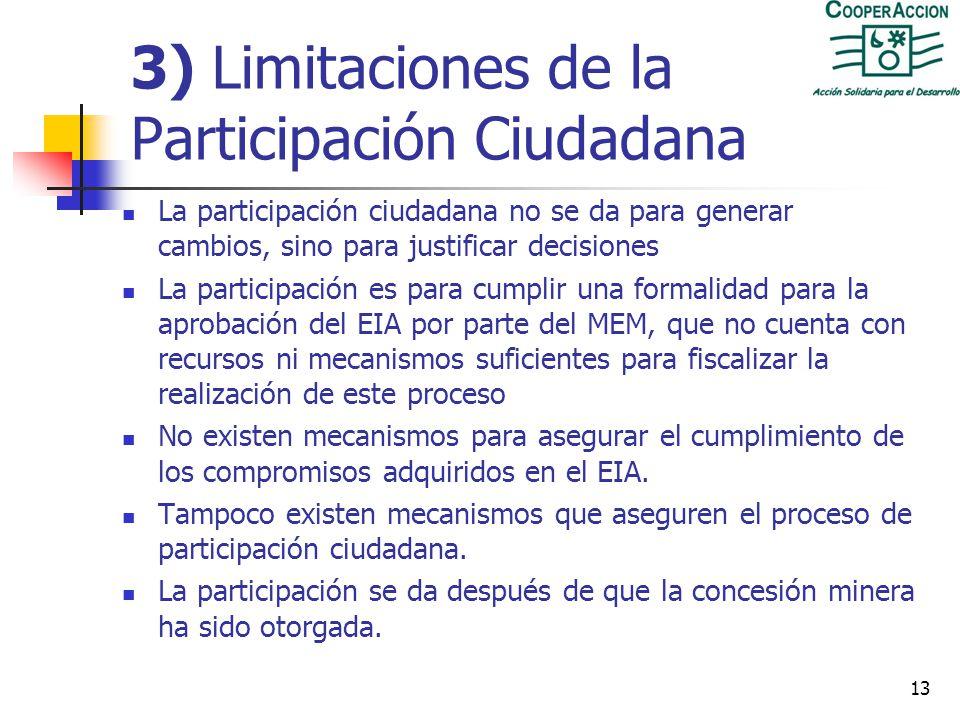 3) Limitaciones de la Participación Ciudadana