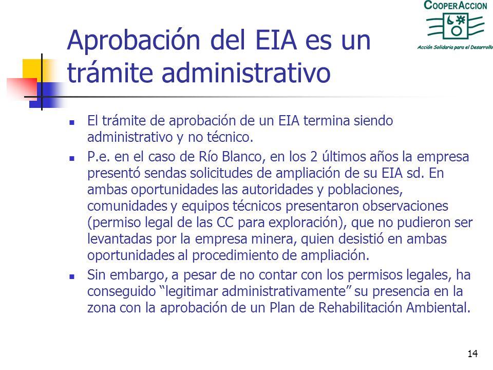 Aprobación del EIA es un trámite administrativo
