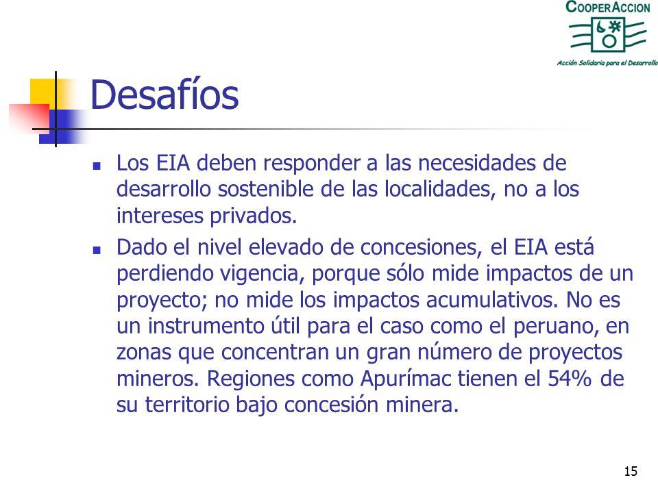 Desafíos Los EIA deben responder a las necesidades de desarrollo sostenible de las localidades, no a los intereses privados.