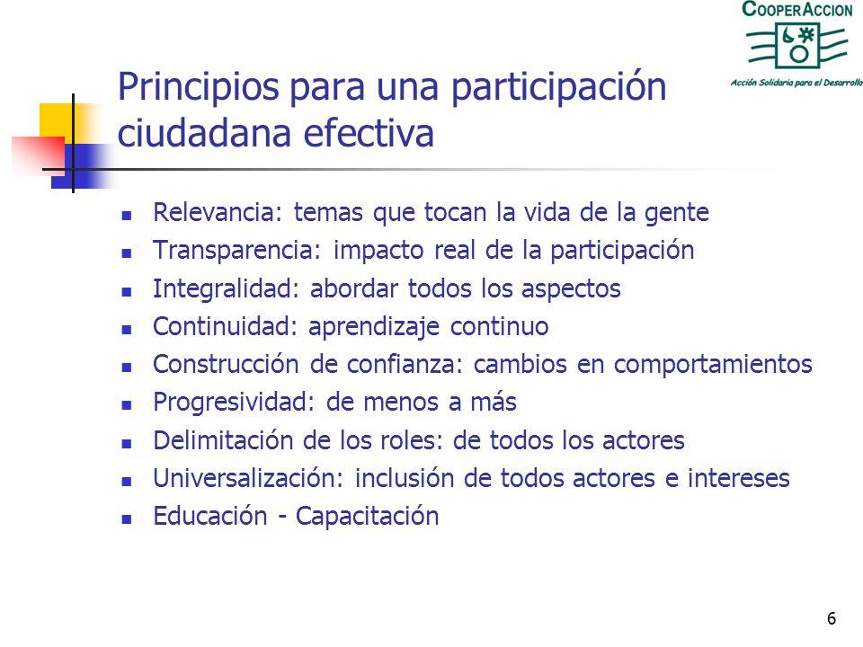 Principios para una participación ciudadana efectiva