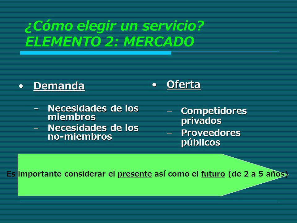 ¿Cómo elegir un servicio ELEMENTO 2: MERCADO