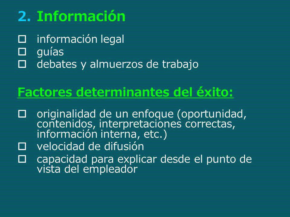 Información Factores determinantes del éxito: información legal guías