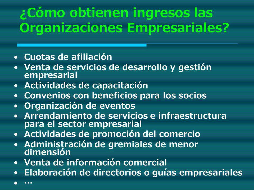 ¿Cómo obtienen ingresos las Organizaciones Empresariales