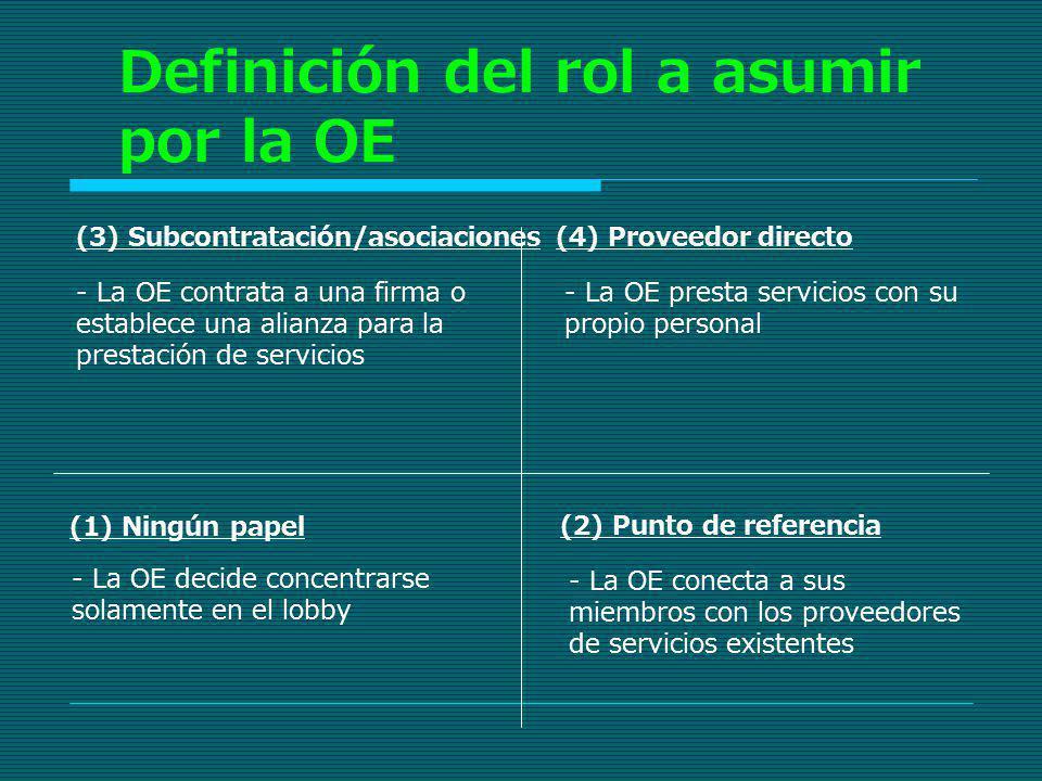Definición del rol a asumir por la OE