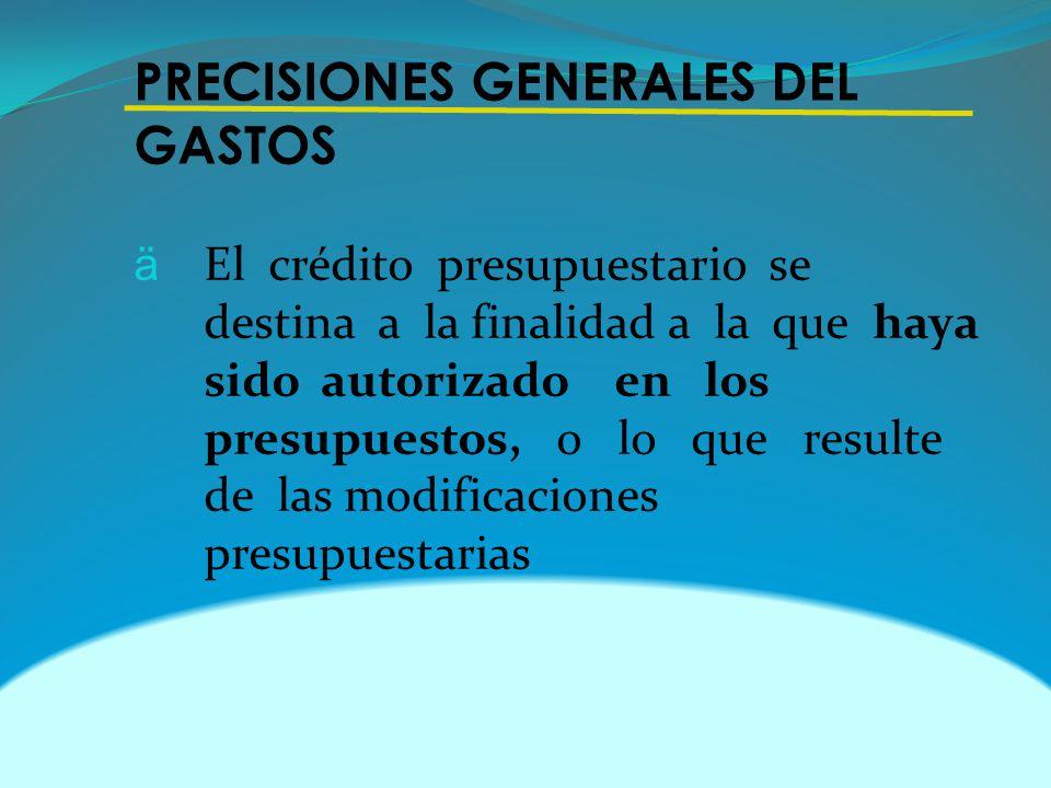 PRECISIONES GENERALES DEL GASTOS
