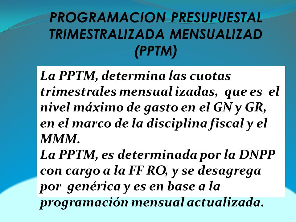 PROGRAMACION PRESUPUESTAL TRIMESTRALIZADA MENSUALIZAD (PPTM)