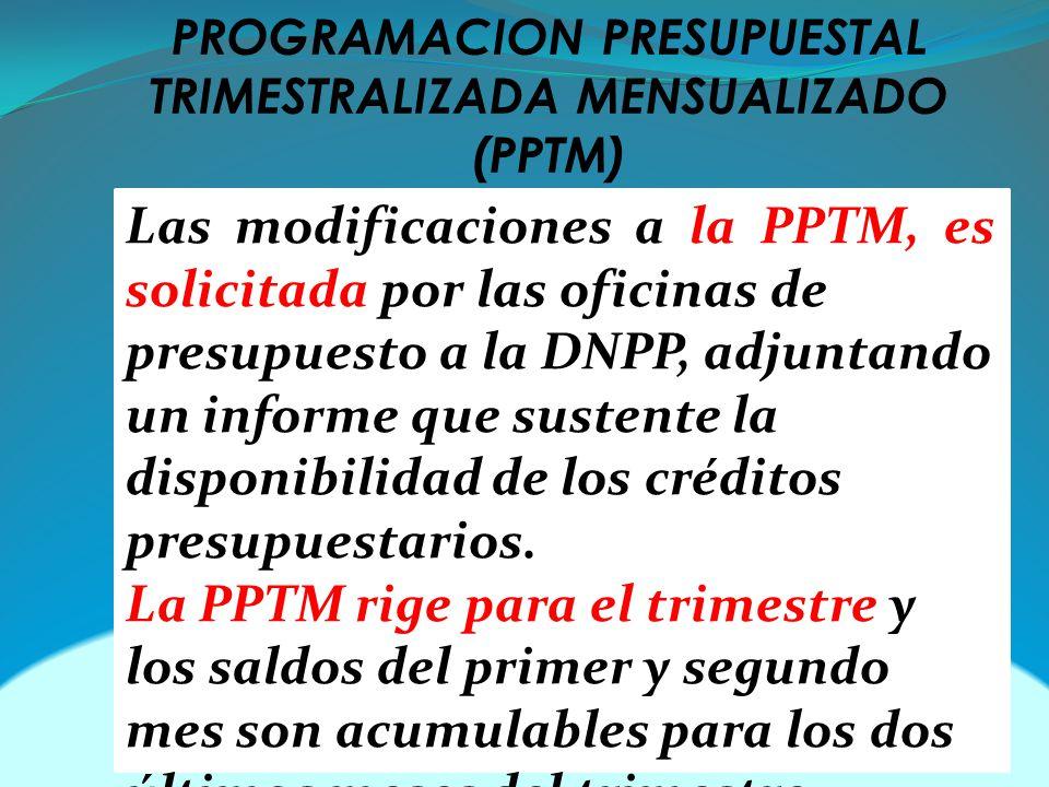 PROGRAMACION PRESUPUESTAL TRIMESTRALIZADA MENSUALIZADO (PPTM)