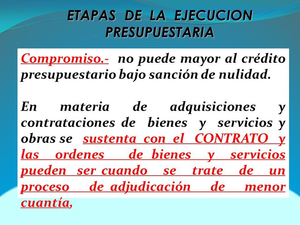 ETAPAS DE LA EJECUCION PRESUPUESTARIA