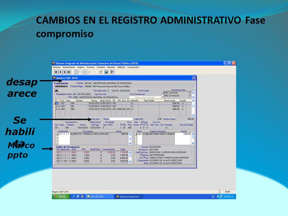 CAMBIOS EN EL REGISTRO ADMINISTRATIVO Fase compromiso
