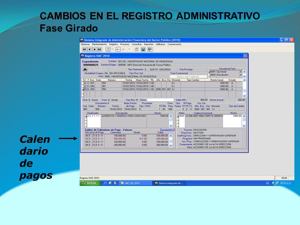CAMBIOS EN EL REGISTRO ADMINISTRATIVO Fase Girado