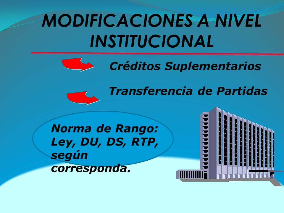MODIFICACIONES A NIVEL INSTITUCIONAL