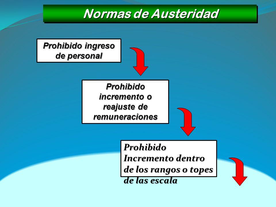 Normas de Austeridad Prohibido ingreso de personal. Prohibido incremento o reajuste de remuneraciones.