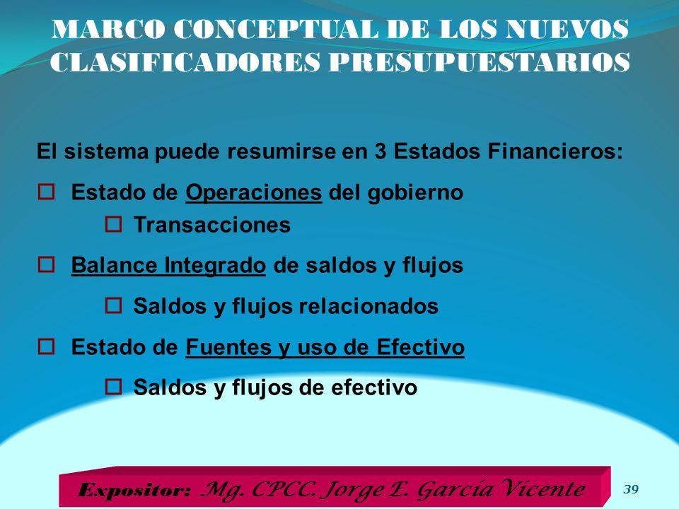 MARCO CONCEPTUAL DE LOS NUEVOS CLASIFICADORES PRESUPUESTARIOS