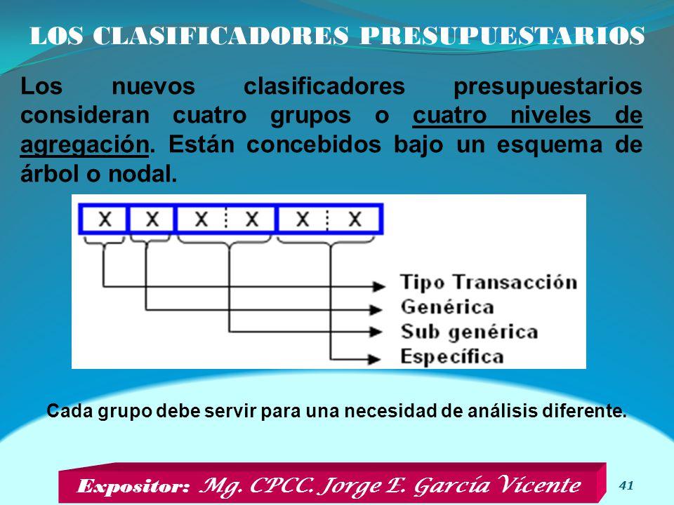 LOS CLASIFICADORES PRESUPUESTARIOS