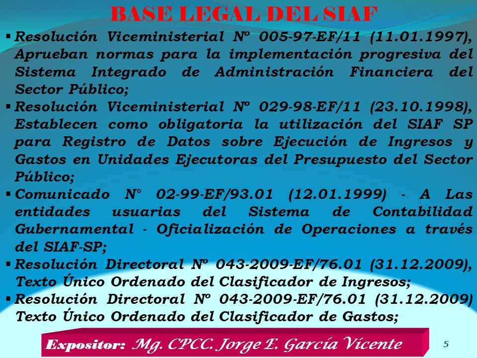BASE LEGAL DEL SIAF