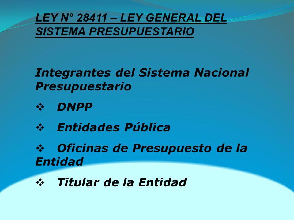 LEY N° 28411 – LEY GENERAL DEL SISTEMA PRESUPUESTARIO