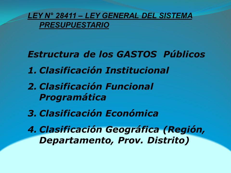 Estructura de los GASTOS Públicos Clasificación Institucional
