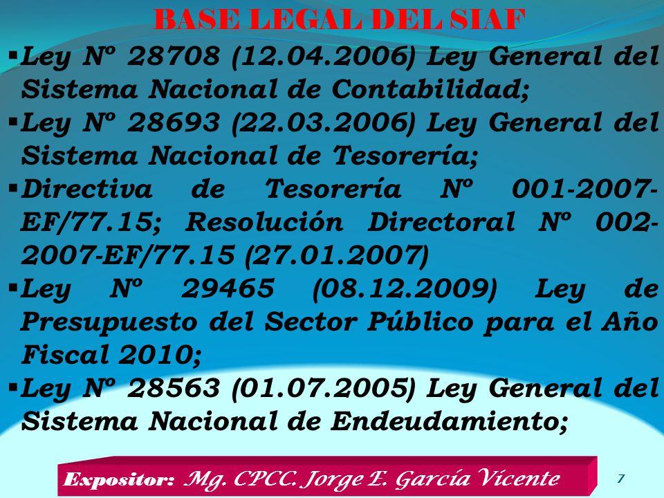 BASE LEGAL DEL SIAF Ley Nº 28708 (12.04.2006) Ley General del Sistema Nacional de Contabilidad;