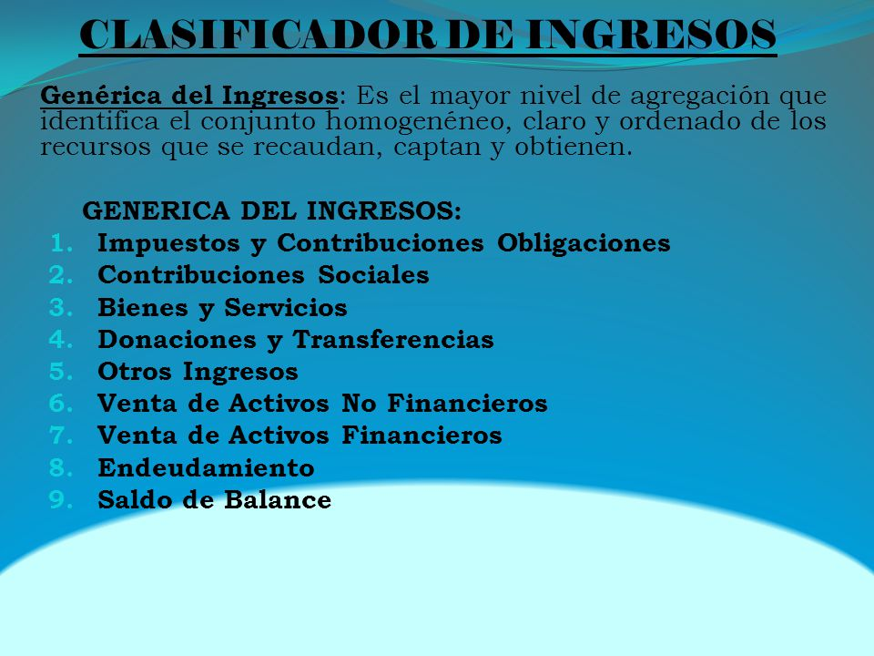 CLASIFICADOR DE INGRESOS