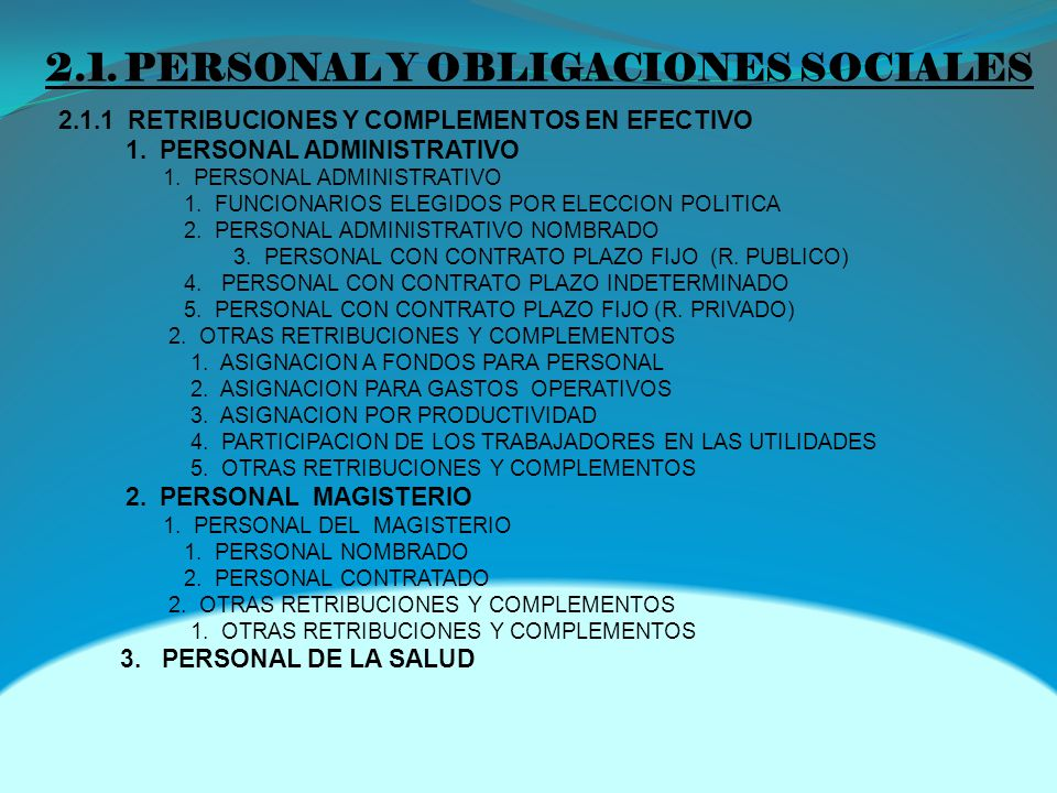 2.1. PERSONAL Y OBLIGACIONES SOCIALES