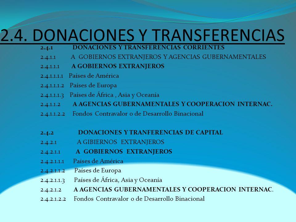 2.4. DONACIONES Y TRANSFERENCIAS