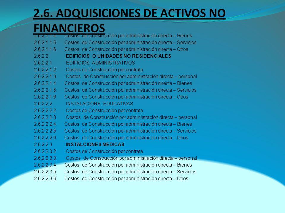 2.6. ADQUISICIONES DE ACTIVOS NO FINANCIEROS