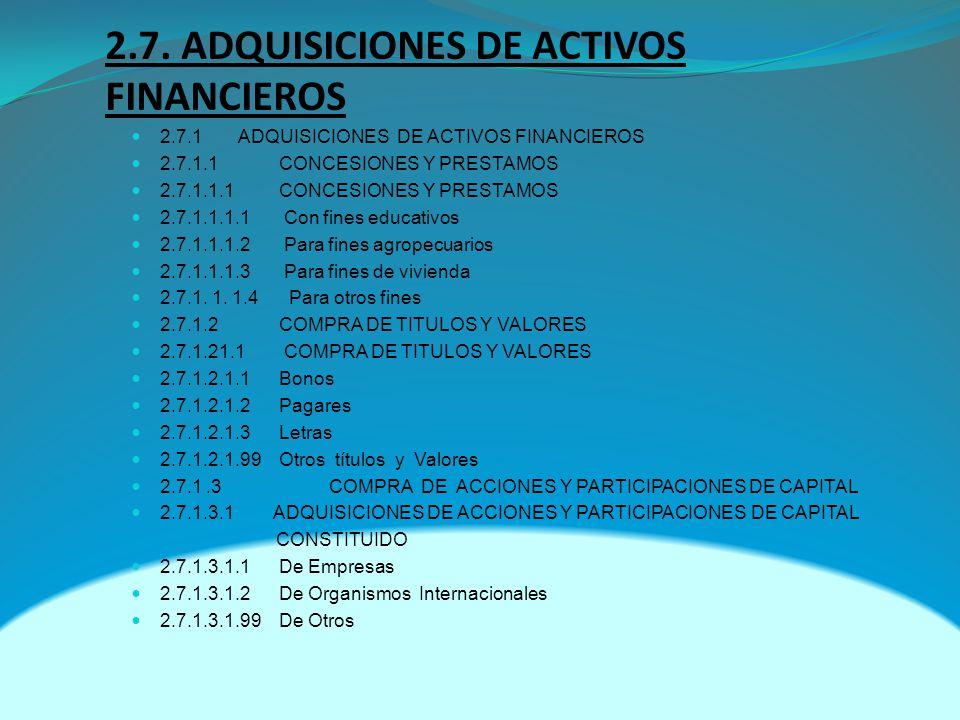 2.7. ADQUISICIONES DE ACTIVOS FINANCIEROS