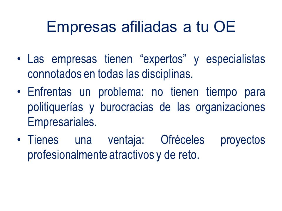 Empresas afiliadas a tu OE