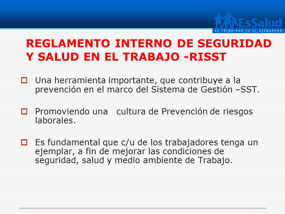 REGLAMENTO INTERNO DE SEGURIDAD Y SALUD EN EL TRABAJO -RISST