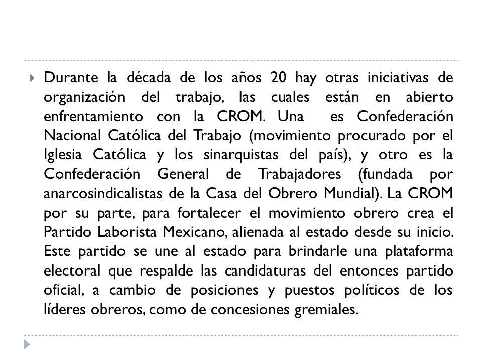 Durante la década de los años 20 hay otras iniciativas de organización del trabajo, las cuales están en abierto enfrentamiento con la CROM.