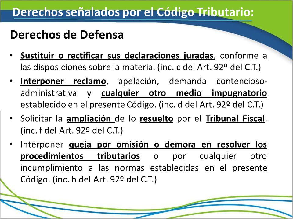 Derechos señalados por el Código Tributario: Derechos de Defensa