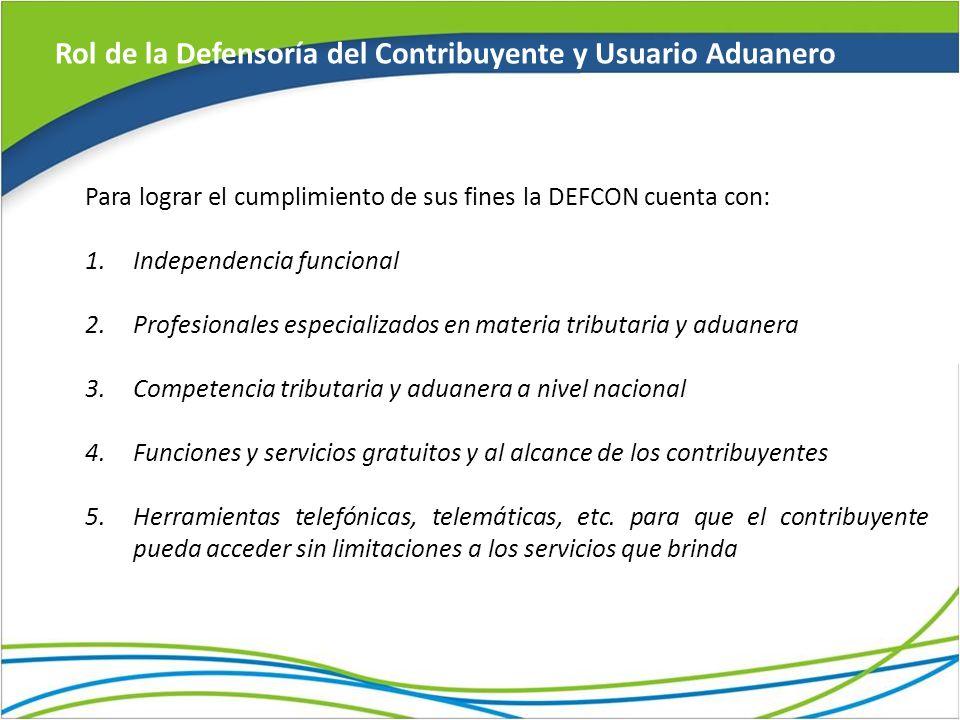 Rol de la Defensoría del Contribuyente y Usuario Aduanero