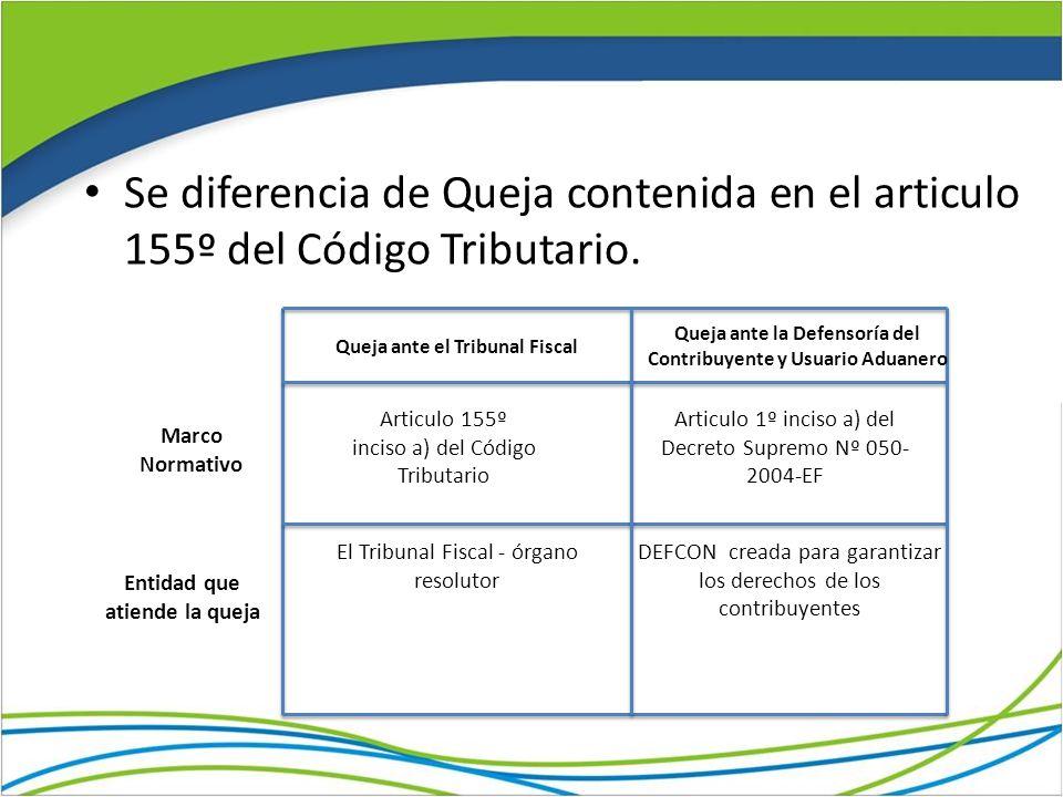 Se diferencia de Queja contenida en el articulo 155º del Código Tributario.