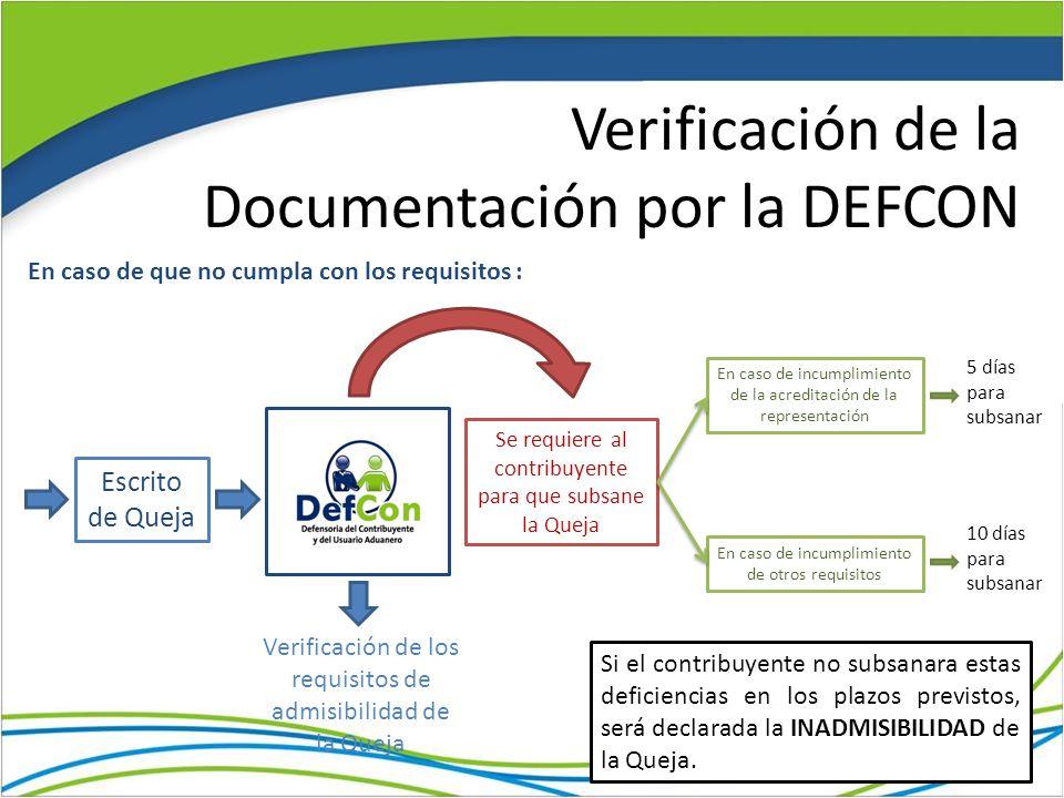 Verificación de la Documentación por la DEFCON