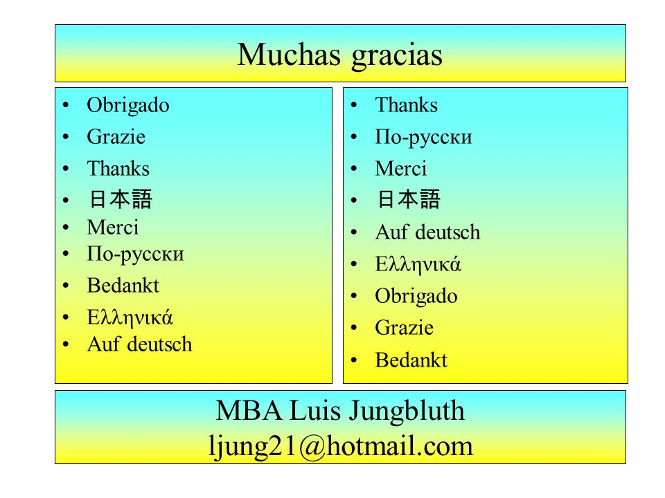 MBA Luis Jungbluth ljung21@hotmail.com