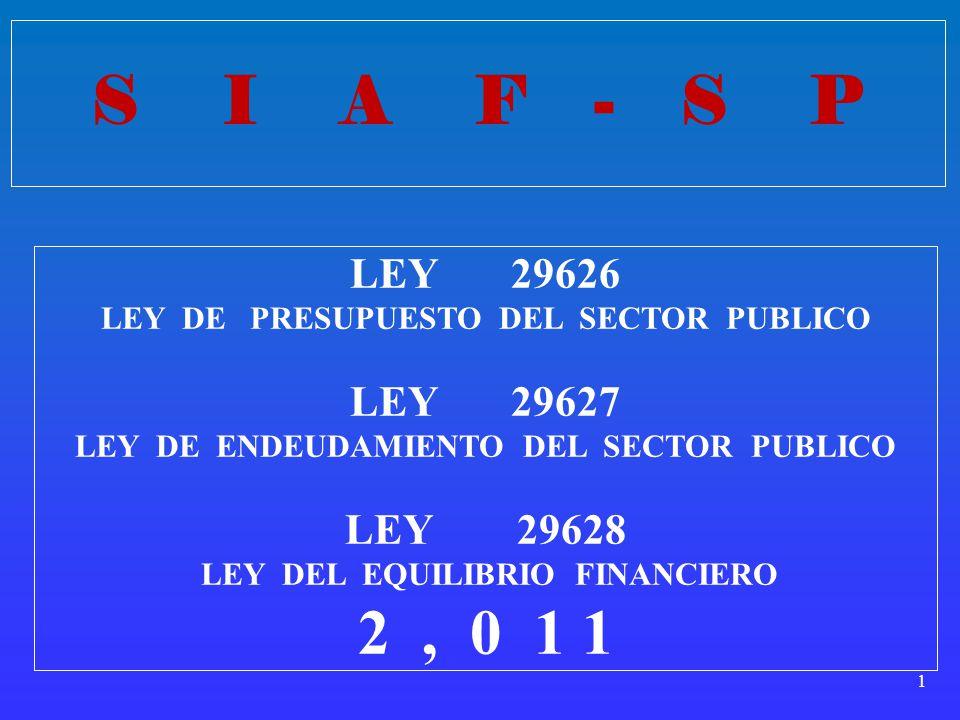 S I A F - S P LEY 29626. LEY DE PRESUPUESTO DEL SECTOR PUBLICO. LEY 29627.