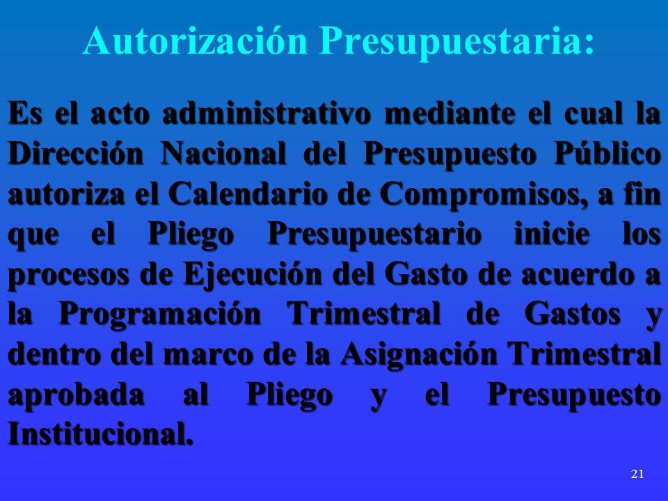 Autorización Presupuestaria: