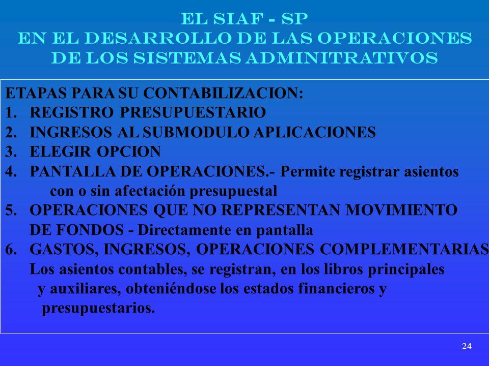 EN EL DESARROLLO DE LAS OPERACIONES DE LOS SISTEMAS ADMINITRATIVOS