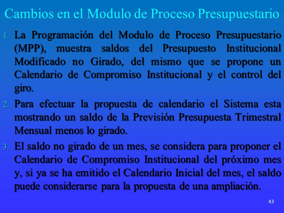 Cambios en el Modulo de Proceso Presupuestario